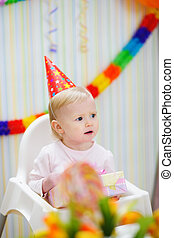 γιορτάζω , γενέθλια , μωρό , ατενίζω αναμμένος , γωνία