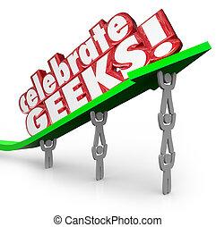 γιορτάζω , geeks , άνθρωποι , nerds , ανέβασμα , βέλος , λόγια