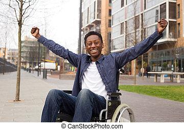 γιορτάζω , success., ευτυχισμένος , αναπηρική καρέκλα , μεταχειριζόμενος