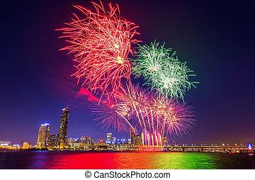 γιορτή , διεθνής , korea., πυροτεχνήματα , seoul