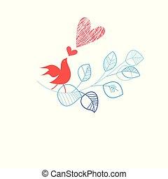 γιορτή , κάρτα , με , ένα , πουλί , ερωτευμένα