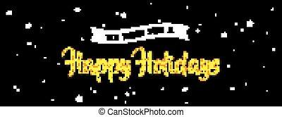 γιορτή , χαιρετισμός , σημαία , ., χρυσός , χαιρετισμός , επάνω , νύκτα , μαύρο , φόντο.
