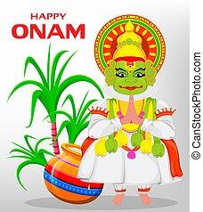 γιορτή , onam, ευτυχισμένος , dancer., kathakali