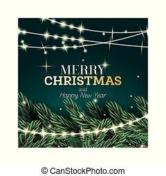 γιρλάντα , πράσινο , νέο , εύθυμος , παράρτημα , φόντο. , ευτυχισμένος , ελάτη , καινούργιος , year., xριστούγεννα