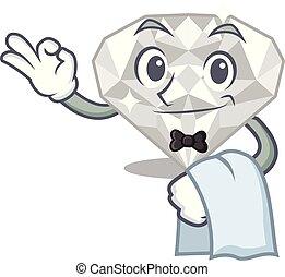 γκαρσόνι , άσπρο , διαμάντι , απομονωμένος , γελοιογραφία