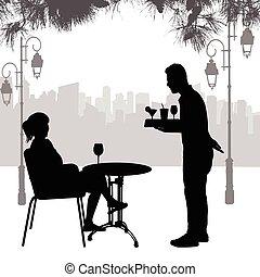 γκαρσόνι , δίσκος , κορίτσι , περίγραμμα , τραπέζι