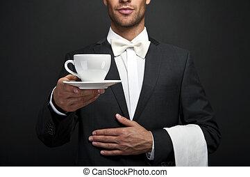 γκαρσόνι , καφέs , κουστούμι , αμπάρι άγιο δισκοπότηρο