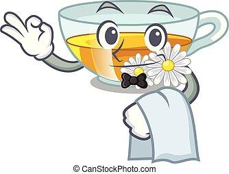 γκαρσόνι , τσάι , σχήμα , χαμομήλι , γελοιογραφία