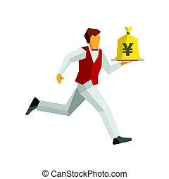 γκαρσόνι , χρήματα , σπάγγος , δίσκος , τσάντα