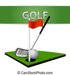 γκολφ μπάλα , μπαστούνι , και , αγίνωτος αγρωστίδες , έμβλημα