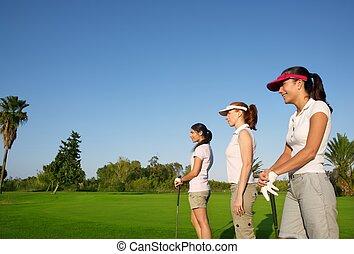 γκολφ , τρία , γυναίκα , αναμμένος ανάλογα με καβγάς , αγίνωτος αγρωστίδες , πορεία