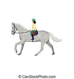 γκρί , άλογο , γυναίκα , απομονωμένος , φόντο , άσπρο