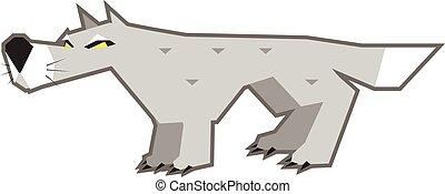 γκρί , θυμωμένος , λύκος