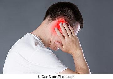 γκρί , πονώ , πόνοs στο αυτί , φόντο , αυτί , άντραs