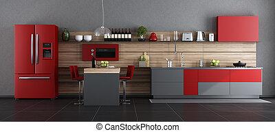 γκρί , σύγχρονος , κόκκινο , κουζίνα