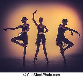γκρί , χορευτές μπαλλέτου , νέος , απεικονίζω σε σιλουέτα , διατυπώνω , backgro