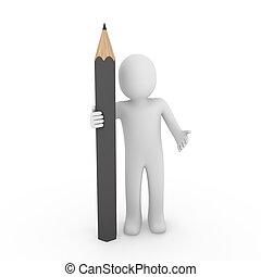 γκρί , 3d , ανθρώπινος , μολύβι