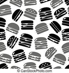 γκρί , eps10, απεικόνιση , τροφή , πρότυπο , seamless, γρήγορα , μαύρο , άνθρωπος , hamburgers