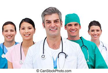 γκρο πλαν , από , ένα , ιατρικός εργάζομαι αρμονικά με
