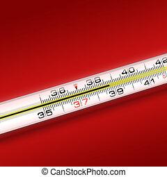 γκρο πλαν , αριστερός φόντο , θερμόμετρο