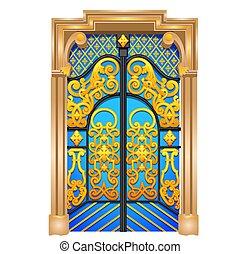 γκρο πλαν , πόρτα , illustration., διπλός , ρυθμός , απομονωμένος , φόντο. , μικροβιοφορέας , ανατολικός , άσπρο , γελοιογραφία