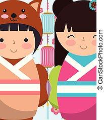 γλυκός , κούκλες , κιμονό , γιαπωνέζοs , kokeshi
