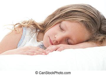 γλυκός , sleeping., πάνω , κορίτσι , κλείνω