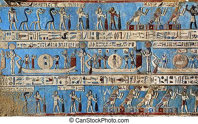 γλυπτό , αρχαίος , ιερογλυφικός , κρόταφος , αιγύπτιος