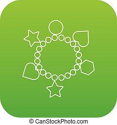 γοητεία , μικροβιοφορέας , βραχιόλι , πράσινο , εικόνα