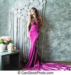 γοητευτικός , γυναίκα , φόρεμα , μοντέρνος