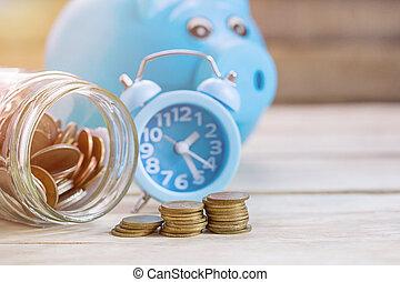 γουρουνάκι , ρολόι , ξύλο , τραπέζι , alram, φόντο. , τράπεζα , κέρματα