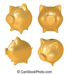 γουρουνάκι , bank., εικόνα , θέτω , μικροβιοφορέας , χρυσαφένιος