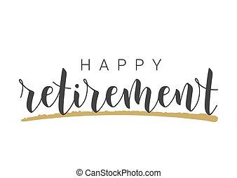 γράμματα , handwritten , retirement., ευτυχισμένος , φόρμα , card., χαιρετισμός
