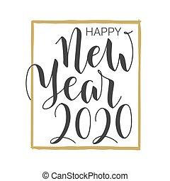 γράμματα , year., καινούργιος , ευτυχισμένος , template., handwritten