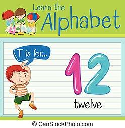 γράμμα , δώδεκα , flashcard, t