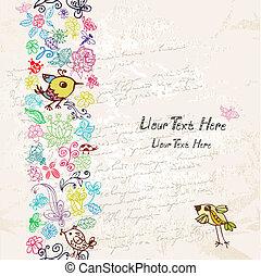 γράφω άσκοπα , κορνίζα , στοιχεία , λουλούδια , πουλί