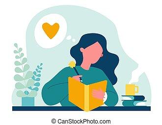 γράψιμο , εφηβικής ηλικίας , εφημερίδα , κορίτσι , ή , ημερολόγιο