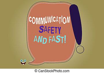 γράψιμο , σημείωση , εκδήλωση , επικοινωνία , ασφάλεια , και , fast., επιχείρηση , φωτογραφία , showcasing, ασφάλεια , γρήγορα , ταχύτητα , μέσα , διαβιβάσεις , κενό , χρώμα , αγόρευση αφρίζω , γενικές γραμμές , με , επιφώνημα , point.