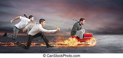 γρήγορα , επιχειρηματίας , με , ένα , αυτοκίνητο , είμαι νικητής , εναντίον , ο , competitors., γενική ιδέα , από , επιτυχία , και , αγώνας
