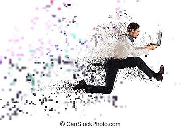 γρήγορα , internet ανταπόκριση , γενική ιδέα , με , τρέξιμο , επιχειρηματίας