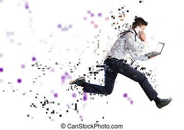 γρήγορα , internet ανταπόκριση , γενική ιδέα , με , τρέξιμο...