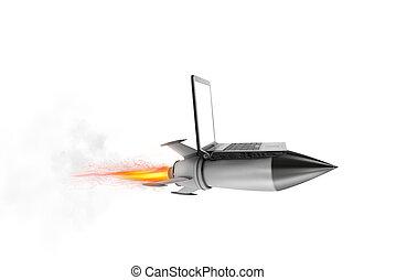 γρήγορα , internet , γενική ιδέα , με , ένα , laptop , πάνω , ένα , πύραυλοs