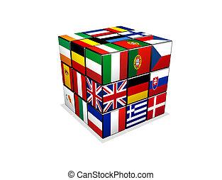 γρίφος , κύβος , σημαίες , ευρωπαϊκός , 3d