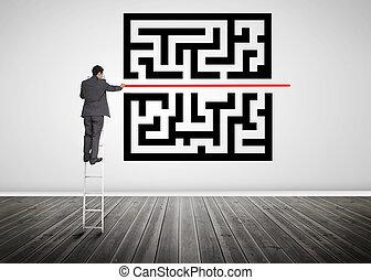 γραμμή , ανεμόσκαλα , ακάθιστος , διαμέσου , κρυπτογράφημα , αδειάζω , ζωγραφική , qr, επιχειρηματίας , κόκκινο , δωμάτιο