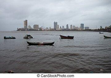 γραμμή ορίζοντα , βράδυ , mumbai