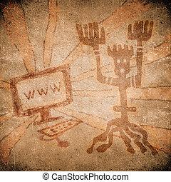 γραμμή , προϊστορικός , ζωγραφική , ηλεκτρονικός υπολογιστής