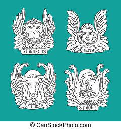 γραμμή , τέσσερα , john., άγγελος , σημαδεύω , ευαγγελικός κήρυκας , eagle., matthew, λιοντάρι , ταύρος , symbols:, luke