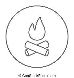 γραμμή , φωτιά κατασκήνωσης , icon.