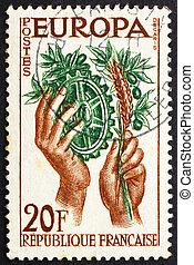 γραμματόσημο , γαλλία , 1957 , ειρήνη , και , ευημερία