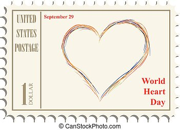 γραμματόσημο , κόσμοs , ημέρα , καρδιά